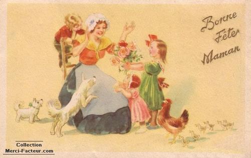 Enfants offrant des fleurs pour la fête des mères