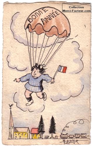 Bonne année avec saut en parachute pour un dessin sur carte postale