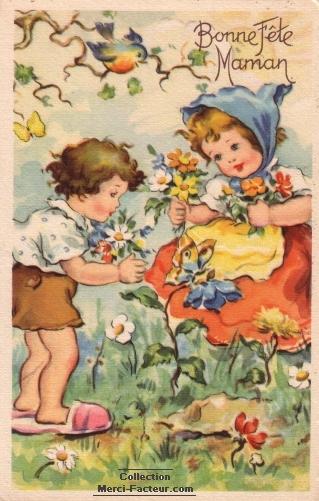Oiseau et papillon sur une carte ancienne de fête des mères