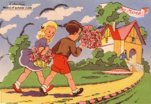 Enfants sur chemin pour la fête des mamans