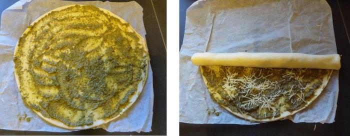 Recette de roulés feuilleté au Pesto pour manger en apéritif au reveillon de nouvel an
