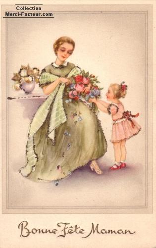 carte ancienne fete des mères bouquet de fleur classique