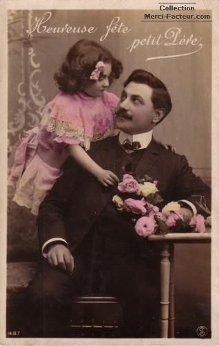 carte postale ancienne fete des pères avec petite fille et son Papa