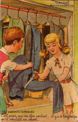 Enfants terribles pour la fête des pères qui coupent un pantalon