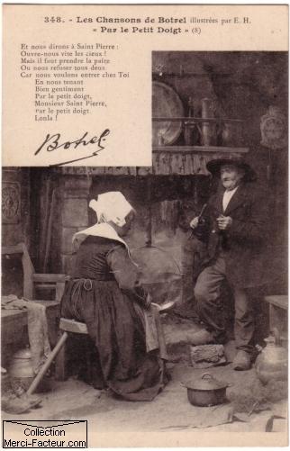 Carte postale ancienne amoureux breton