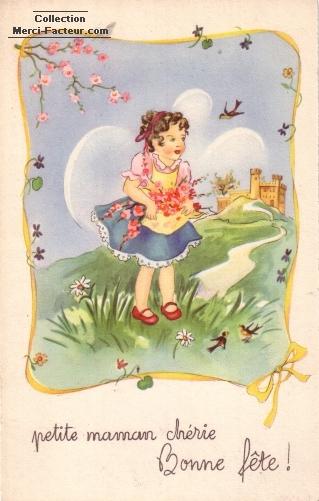 Maman cherie petite fille et bouquet de fleur