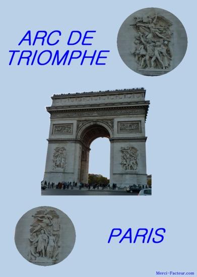 Arc de triomphe à Paris au rond point des champs Elysées carte postale à immprimer gratuitement