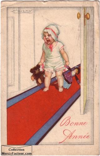 Bébé qui pleure avec jouets sur carte postale ancienne