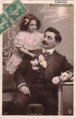 Une autre carte postale de fete des pères avec la petite fille et Papa