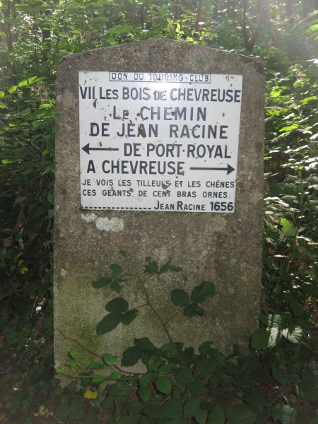 Borne de citation du chemin Jean Racine entre port Royal et Chevreuse