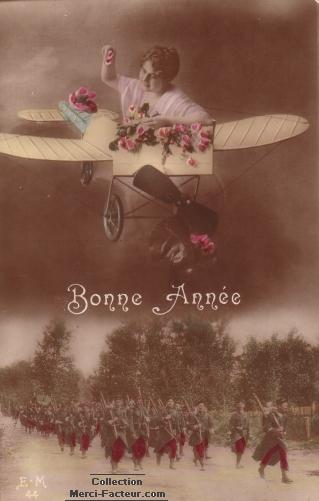 Carte postale ancienne de guerre avec avion de bombardement de roses sur les soldats