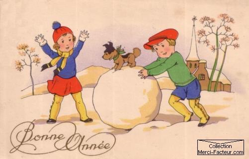 carte postale avec des enfants qui jouent à la neige en fabriquant une grosse boule de neige
