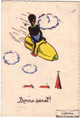 Carte postale dessin original personnage bande dessinnée sur obus