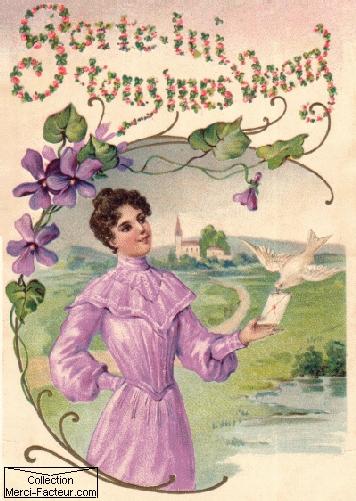 Carte postale ancienne representant une Jeune femme confiant une lettre à un colombe