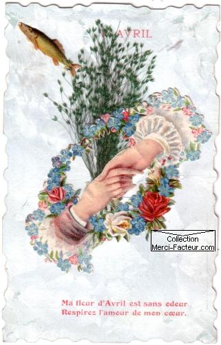Carte ancienne 1er Avril avec poisson, mains et bouquet