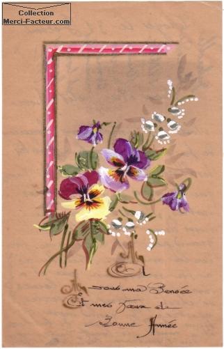 Bouquet de fleurs pensée pour cette carte de voeux