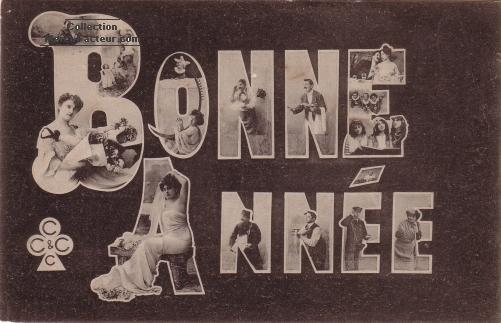 Carte de voeux ancienne avec trucage et personnage dans les lettres de BONNE ANNEE