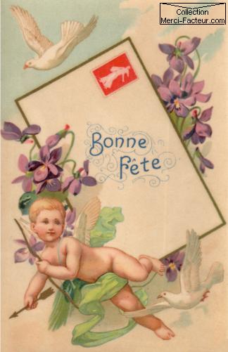 Carte ancienne pour souhaiter une fête avec un cupidon