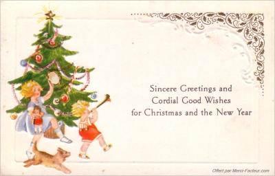 carte postale ancienne de Noel pour imprimer gratuite