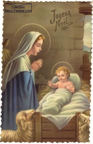 Nativité avec Marie et Jesus carte postale ancienne de Noël
