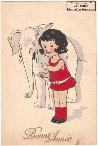 Une carte avec un dessin d'elephant et une petite fille