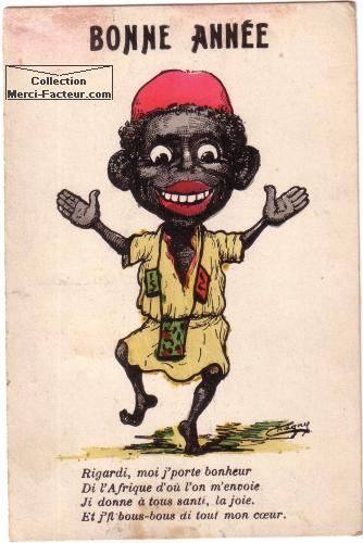 Bonne année avec africain sur carte de voeux ancienne coloniale