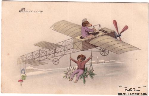 Carte postale ancienne en dessin de deux chiens avec un avion