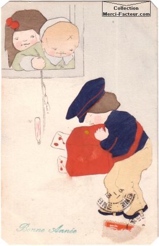 Joli dessin à l'aquarelle de deux enfants et d'un petit facteur.
