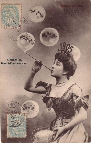 Bulles de savon pour carte de nouvelle année 1905