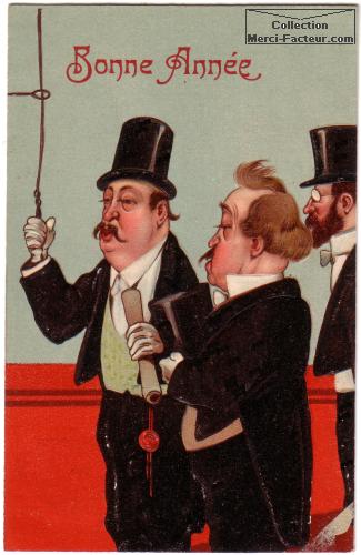 Dessin d'hommes en haut de forme noir pour carte de voeux ancienne