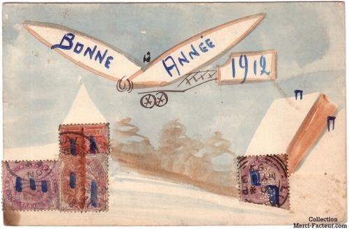 Carte de voeux ancienne avec un aéroplane dessiné à l'aquarelle