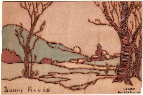 Carte de voeux en pyrogravure avec paysage