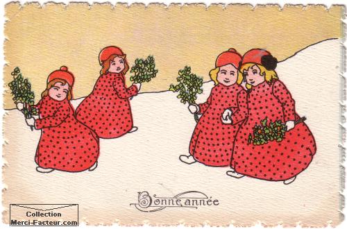 carte postale ancienne de voeux avec quatre petites filles en robe rouge
