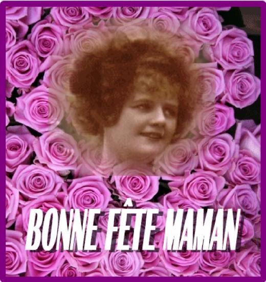Image pour carte de fête des mères avec roses et BONNE FETE MAMAN