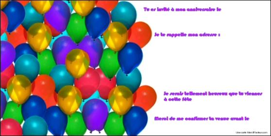 carton d'invitation gratuit pour inviter à un anniversaire d'enfants