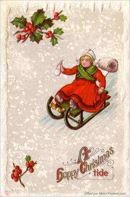 carte pour la fête de Noel avec Houx et enfants sur une luge