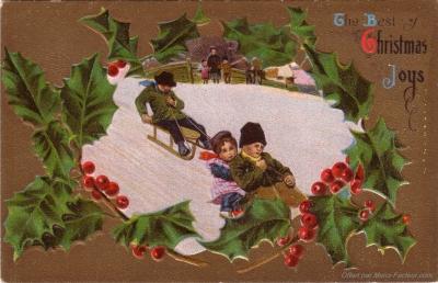 Pour imprimer gratuitement la reproduction d'une carte postale ancienne pour les fêtes de Noël