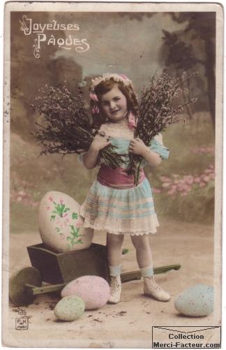 Carte postale ancienne de pacques avec une petite fille et des gros oeufs de paques