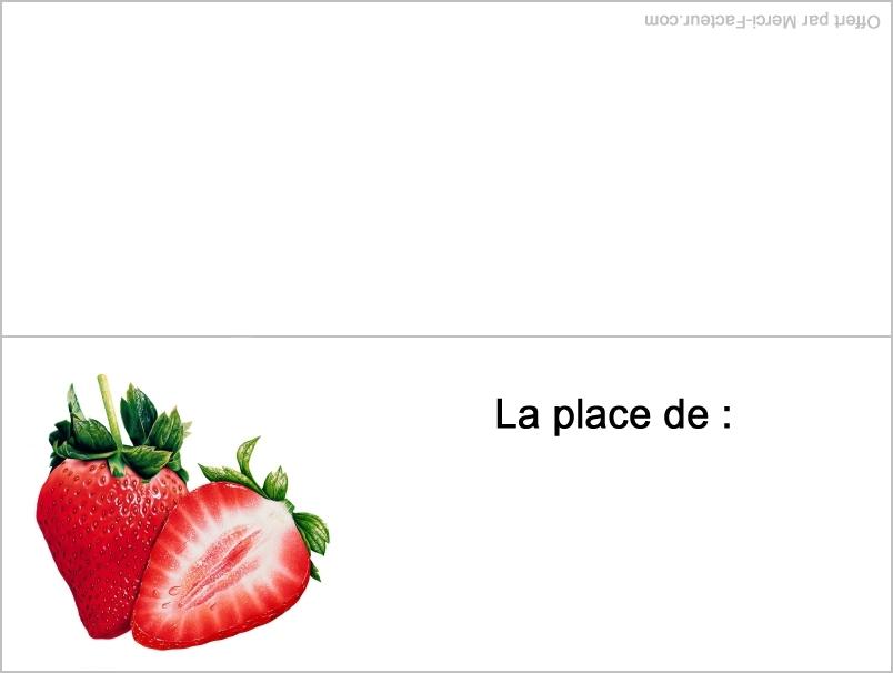 carte fraise pour placement de table pour le reveillon de fin d'année pour nouvel an