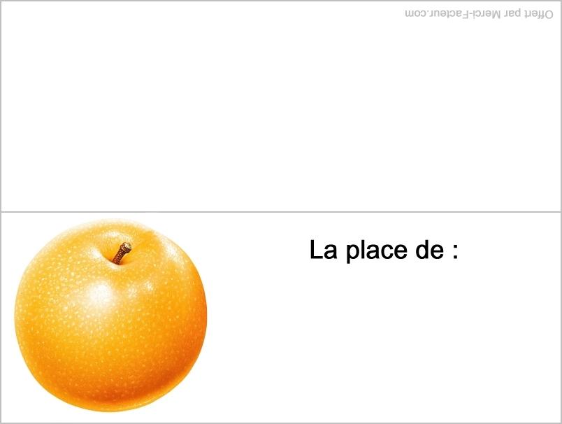 carte orange pour placement de table pour le reveillon de fin d'année pour nouvel an