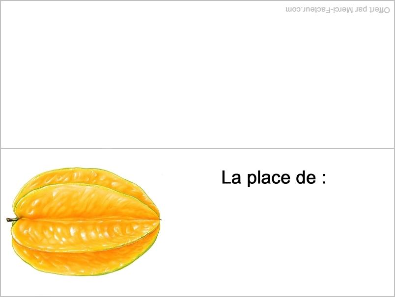 carte fruit jaune pour placement de table pour le reveillon de fin d'année pour nouvel an