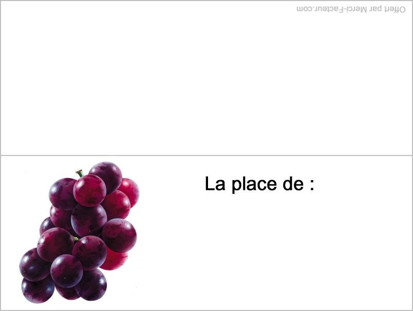 carte raisin pour placement de table pour le reveillon de fin d'année pour nouvel an