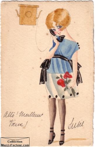 Aquarelle sur carte postale ancienne. Carte de voeux avec jeune femme au téléphone