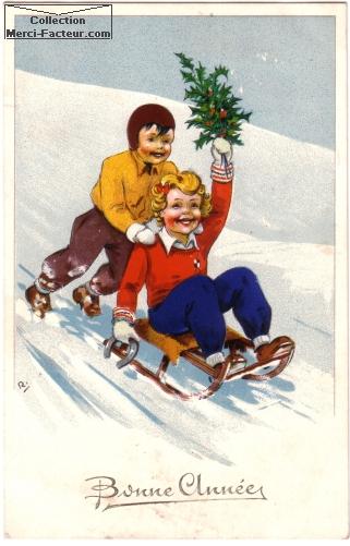 Les enfants font de la luge pour la carte postale ancienne