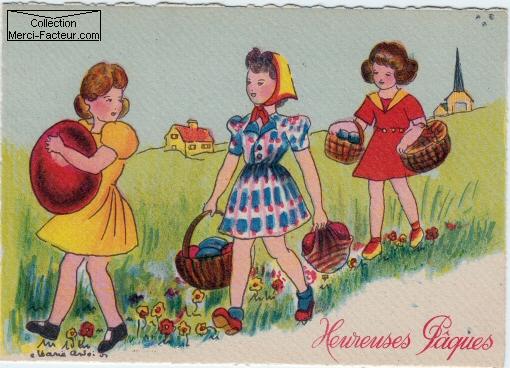 trois jeunes filles partent chercher des ½ufs de pâques dans les prés
