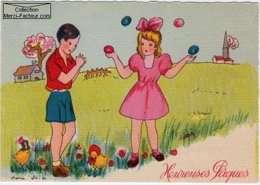 Une jeune fille jongle avec des oeufs de paques