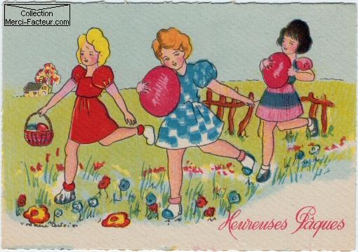 Trois jeunes filles courent avec des oeufs à travers la campagne