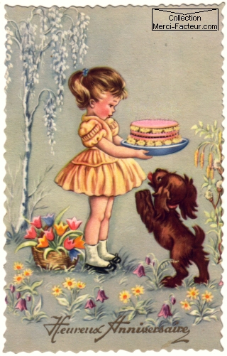 Carte postale ancienne d'anniversaire avec gros gateau rose, petit chien un une petite fille