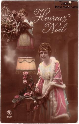 Carte postale ancienne avec photographie d'amoureux Heureux Noel