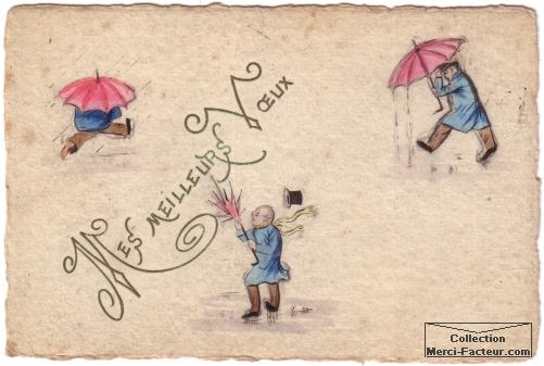 Carte postale ancienne peinte à la main Mes meilleurs voeux avec parapluie